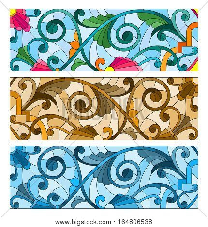 Set of illustrations of stained glass with abstract swirls and flowers horizontal orientation