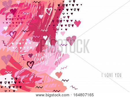 Elegant grunge red background with hearts and place love text. Valentine Day love greeting card. Vertical seamless border design. Vector illustration stock vector.