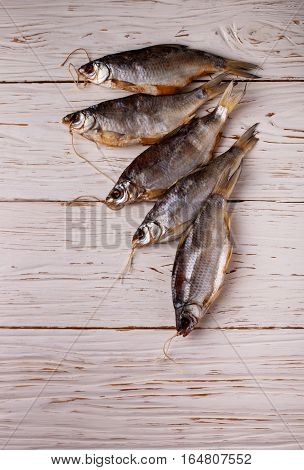 Fish. Dry Salted Dried Roach. Traditional Russian Appetizer.  Top View. Copy Space