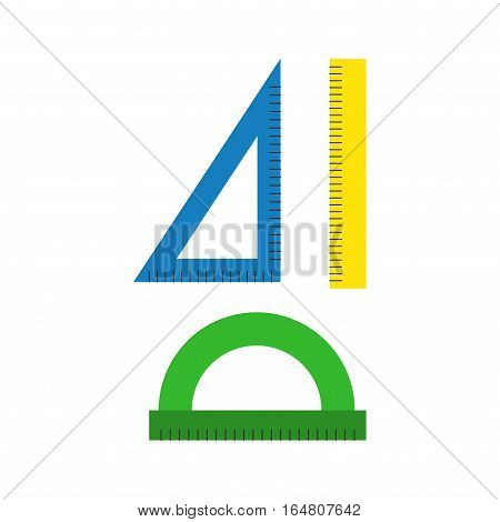 Ruler flat line art icon vector illustration. School symbol education equipment. Some thin measuremen line drawing symbol. Office supplies centimeter measure.