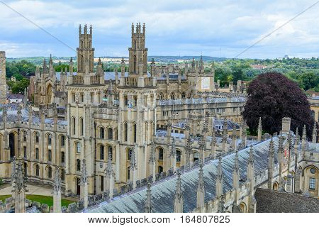 All Souls College Oxford University Oxford UK. Horizontal view with All Souls College and Oxford University.