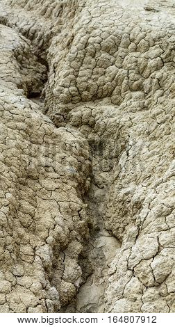 Close-up with dried ground covered with cracks. Natural dry soil texture brown drought theme in rural arid area background for design.