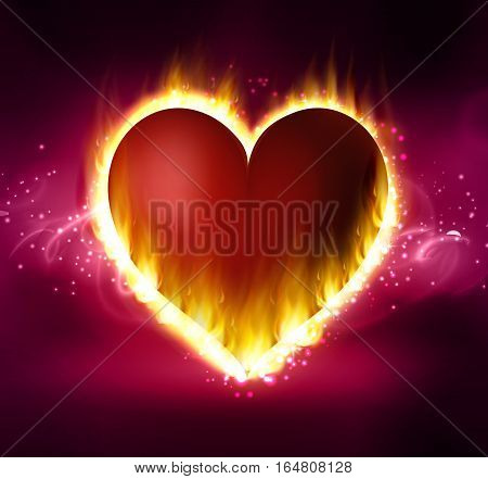 Flame heart on the dark background pink and red on abstract background