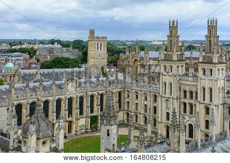 Oxford United Kingdom - August 21 All Souls College Oxford University on August 21 2016 in Oxford United Kingdom. All Souls College is a constituent college of the University of Oxford in England.