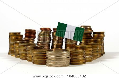 Nigeria Flag Waving With Stack Of Money Coins