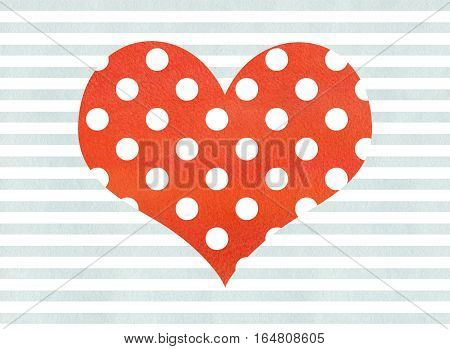 Red Watercolor Polka Dot Heart On Watercolor Blue Stripes Background.