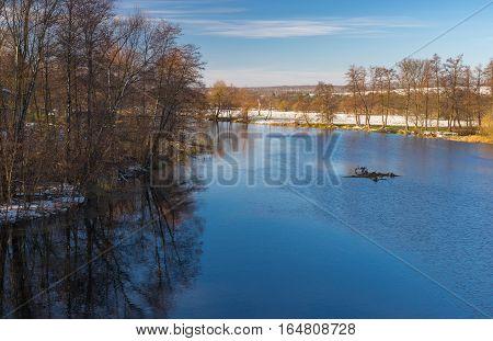 Morning landscape on a Vorskla river at late fall seasom in Ukraine