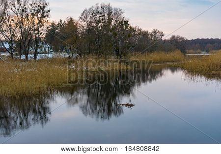 Evening landscape with Hrun' river near Krasna Luka village in Poltavskaya oblast Ukraine