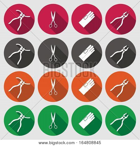 Pliers, gloves, tongs, scissors icons set. Repair fix tool symbol. Round green, orange, gray, red flat signs with long shadow. Vector