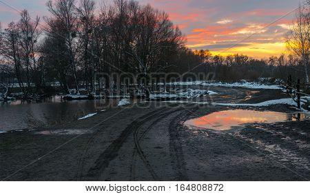 Evening landscape with riverside at sunset time in rural Ukraine