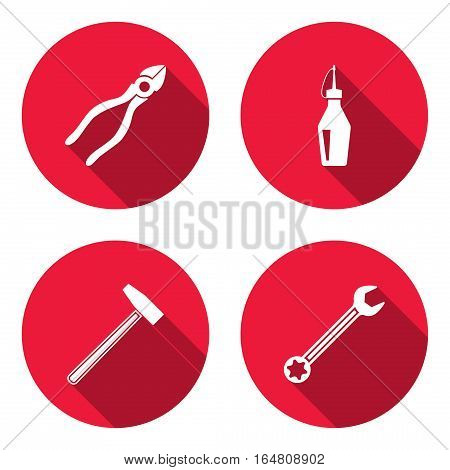 Glue, hammer, wrench key, pliers icon. Repair fix tool symbol. Round red circle flat sign with long shadow. Vector