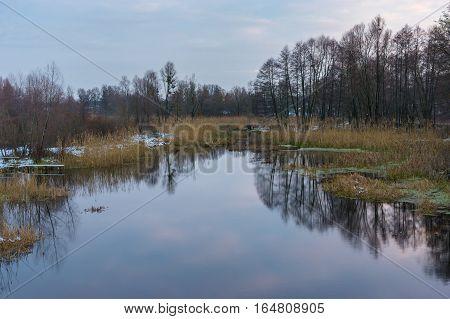 Evening landscape with Hrun' river in Poltavskaya oblast Ukraine