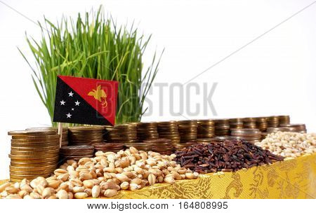 Papua New Guinea Flag Waving With Stack Of Money Coins And Piles Of Wheat And Rice Seeds