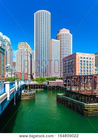Boston, MA - June 2016, USA: Skyscrapers in downtown of Boston, view from Evelyn Moakley Bridge on financial district of the city