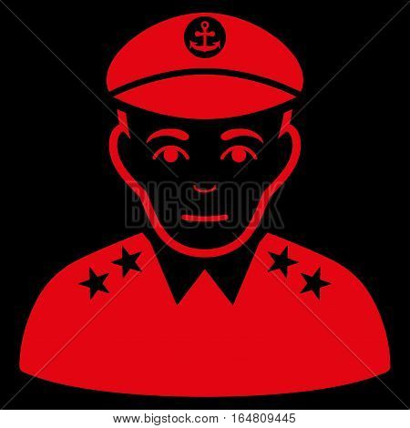 Military Captain vector icon. Flat red symbol. Pictogram is isolated on a black background. Designed for web and software interfaces.