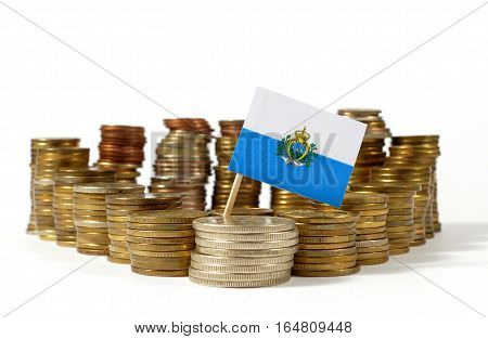 San Marino Flag Waving With Stack Of Money Coins