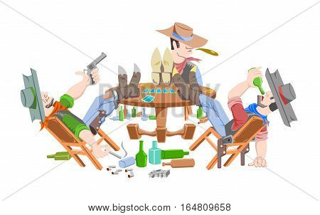 Three cowboy in saloon. Cowboys do not have faces