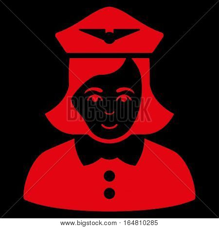 Airline Stewardess vector icon. Flat red symbol. Pictogram is isolated on a black background. Designed for web and software interfaces.