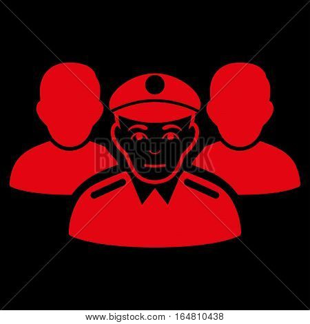 Army Team vector icon. Flat red symbol. Pictogram is isolated on a black background. Designed for web and software interfaces.