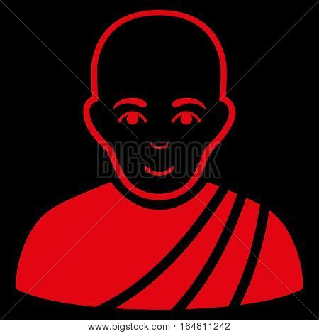 Buddhist Monk vector icon. Flat red symbol. Pictogram is isolated on a black background. Designed for web and software interfaces.