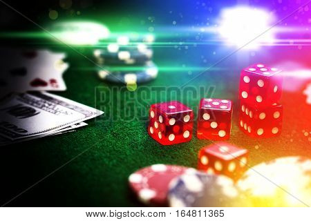 Poker Chips In Casino Gamble Green Table.