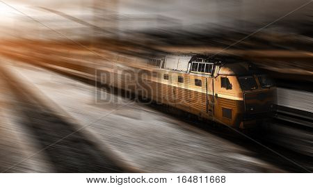 high-speed train in motion with railcars. train.