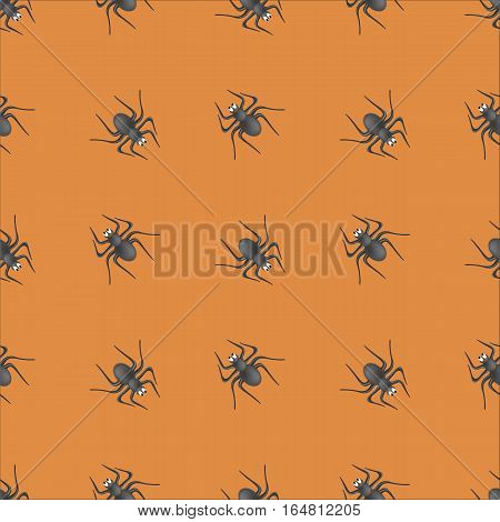 Poisonous Spider Seamless Pattern on Orange Background