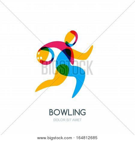 Bowling Game Vector Logo, Icon Or Emblem Design. Running Human With Bowling Ball In Hand.