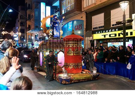 Torrevieja Spain - January 5 2017: Cavalcade of the Magi parade or The night of the Three Wise Men in downtown of Torrevieja. The Cavalcade of Magi attracts thousands of visitors every year.