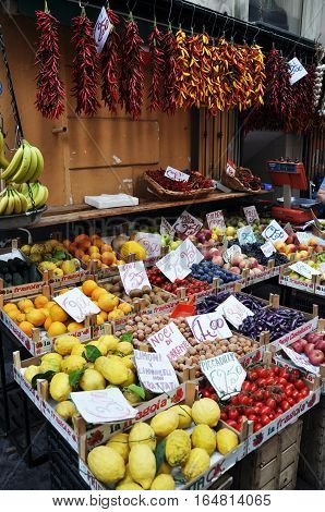 Fresh lemons, oranges and other fruits and vegetables on a street market in Sorrento, Amalfi Coast -Italy