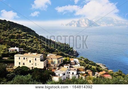 Amalfi mediterranean coast landscape in Italy, Europe
