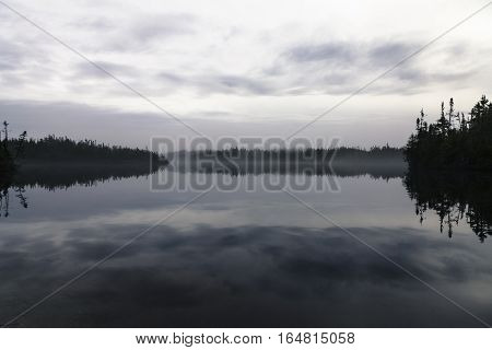 Mist lifting off a pond containing a wharf. Located in a boreal forest, Newfoundland and Labrador, Canada.