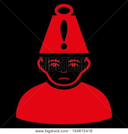 Head Stress vector icon. Flat red symbol. Pictogram is isolated on a black background. Designed for web and software interfaces.