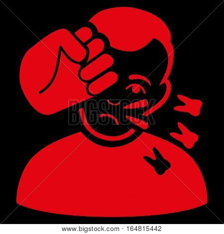 Head Strike vector icon. Flat red symbol. Pictogram is isolated on a black background. Designed for web and software interfaces.