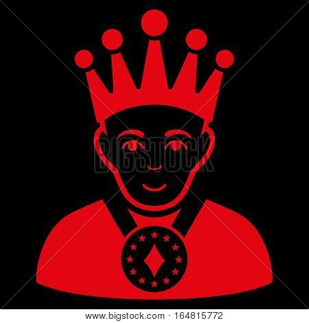 King vector icon. Flat red symbol. Pictogram is isolated on a black background. Designed for web and software interfaces.