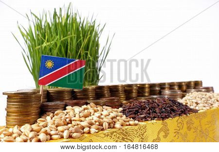 Namibia Flag Waving With Stack Of Money Coins And Piles Of Wheat And Rice Seeds
