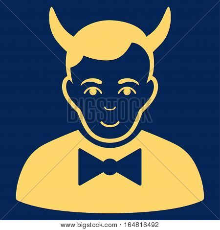 Devil vector icon. Flat yellow symbol. Pictogram is isolated on a blue background. Designed for web and software interfaces.
