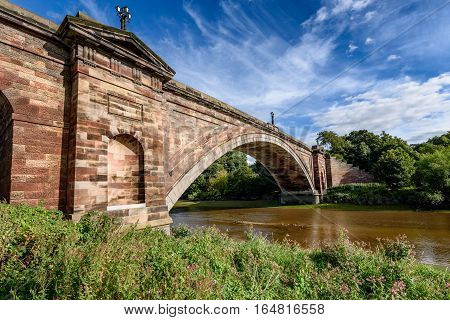 The Grosvenor Bridge is a single-span stone arch road bridge crossing the River Dee at Chester England.
