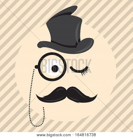 Retro, vintage gentleman in a hat cylinder with a mustache and a monocle icon isolated on light coloured background. Vector art.