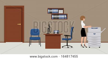 Workplace of office worker. The young woman is an employee at work. There is a table, blue chairs, a copy machine, shelves for documents and other objects in the picture. Vector flat illustration.