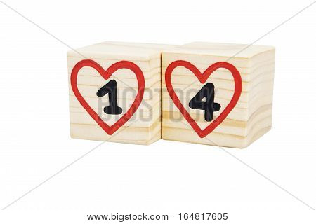 Wooden cubes with handwritten one and four inside red hearts. Valentine's day. Isolated on a white background.
