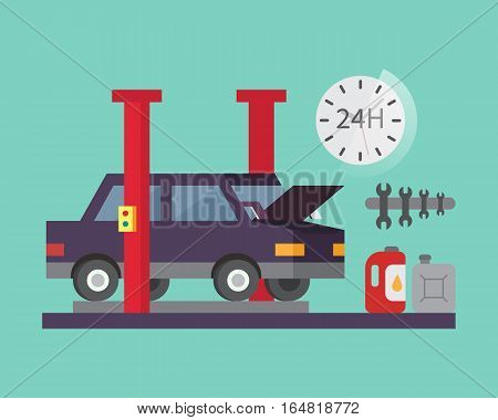 Car service. Auto diagnostics and transport repair. Vector illustration