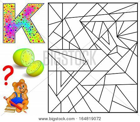 Educational page with letter K for study English. Logic puzzle. Find and paint 5 letters K. Vector image.