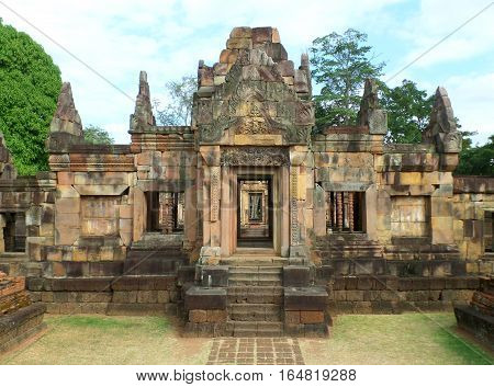 The Impressive Ancient Shrine in Prasat Hin Muang Tam Shrine Complex, Buriram Province, Thailand