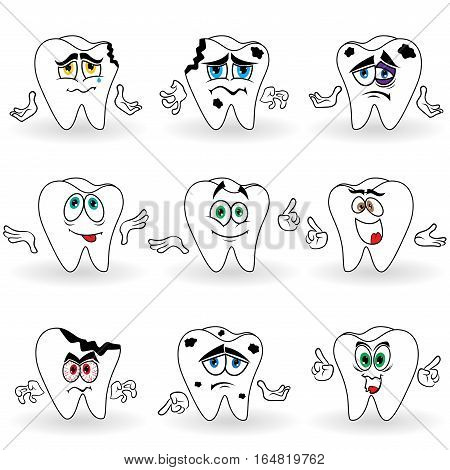 Set Of Nine Amusing Cartoon Teeth