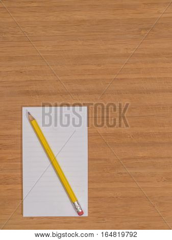 Bamboo Desk Top White Pad Copy Space Pencil