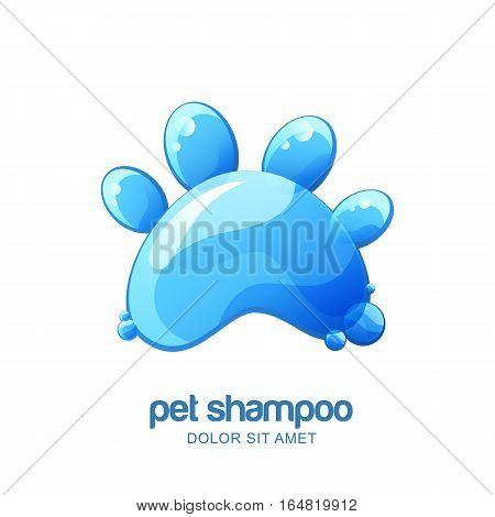 Vector logo emblem label design elements for pet shampoo cosmetic care or grooming. Cat or dog paw with clean water texture.