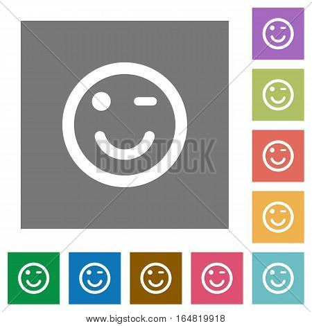 Winking emoticon flat icons on simple color square backgrounds
