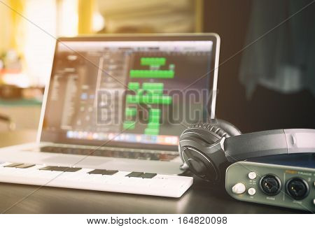 Music Home studio equipments with laptop computer