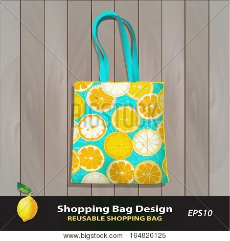 Citrus Slice pattern reusable shopping bag design vector template. Cheerful bag against wood texture. Eco friendly package for food, cosmetics, fashion boutique. Citrus pattern is complete, masked. Lemon icon